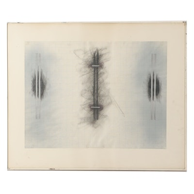Kim Krause 1977 Abstract Graphite Drawing
