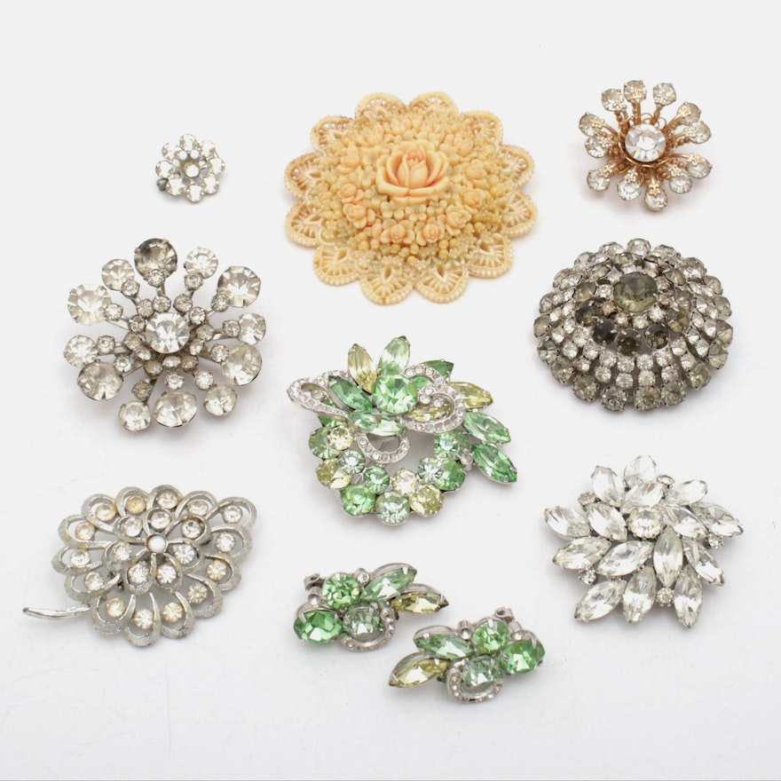 2f3d3441047 Eisenberg Brooch and Earrings and Assorted Costume Jewelry | EBTH