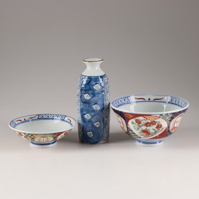 Hand-Painted Porcelain Rice Bowl, Dipping Bowl and Vase