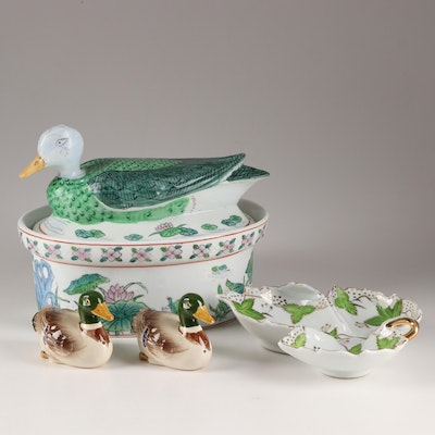 Hand-Painted Decorative Tableware Grouping