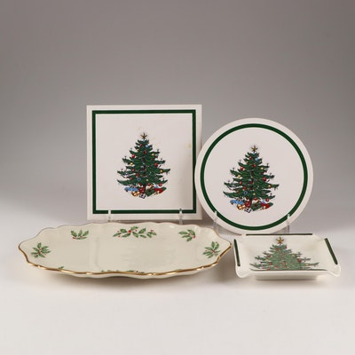 "Christmas China Featuring Lenox ""Holiday"" and Cuthbertson ""Christmas Tree"""