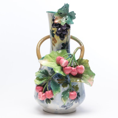 Hand-Painted Earthenware Vase with Fruit and Vine Motif, Mid-Century