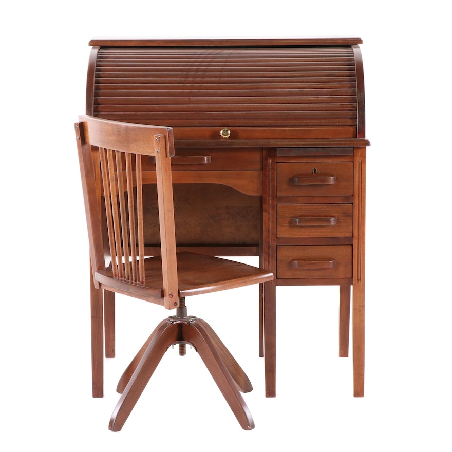 Walnut-Finish Wooden Roll-Top Student Desk with Swivel Chair