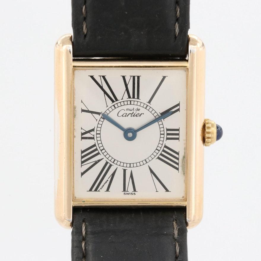 Vintage Cartier Must de Cartier Tank Vermeil Quartz Wristwatch