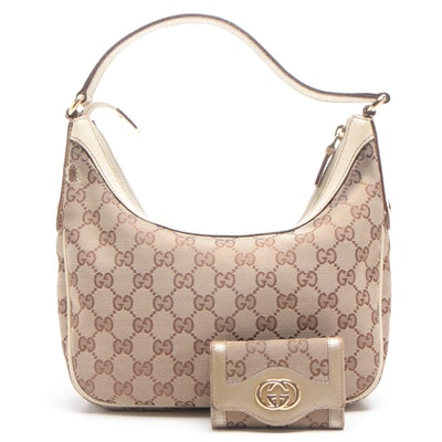 Gucci GG Canvas Shoulder Bag and GG Canvas Key Case Trimmed in Leather