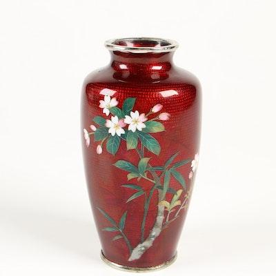 Sato Japanese Ginbari Cloisonné Pigeon Blood Vase