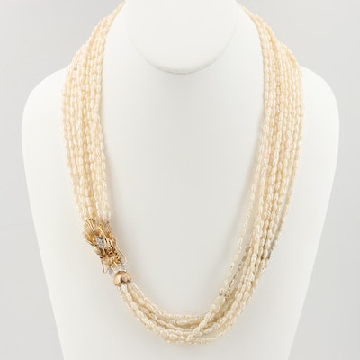 14K Yellow Gold Cultured Pearl and Diamond Multi-Strand Necklace