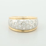 18K Yellow Gold and Platinum Diamond Dome Ring