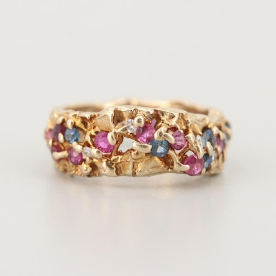 14K Yellow Gold Ruby, Sapphire, and Diamond Ring