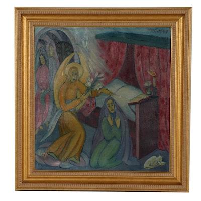 "Paula Fritsch 1917 Oil Painting ""Annunciazione"""