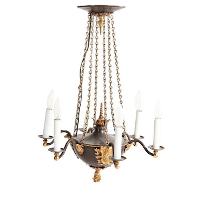 French Empire Style Patinated Bronze Six Arm Chandelier, Early 20th Century