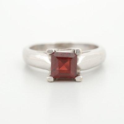14K White Gold Garnet Solitaire Ring