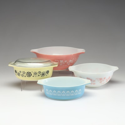 "Pyrex ""Gooseberry,"" ""Blue Tulip,"" & ""Pressed Flowers"" Mid Century Baking Dishes"