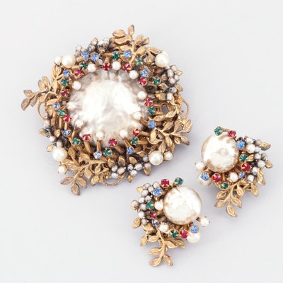 Circa 1950s Miriam Haskell Brooch and Earring Set