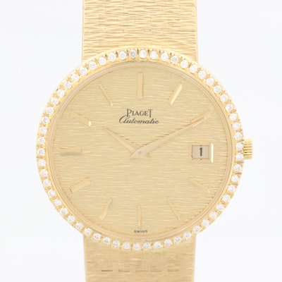 Vintage Piaget Ultra-Thin 18K Gold and Diamond Bezel Automatic Wristwatch