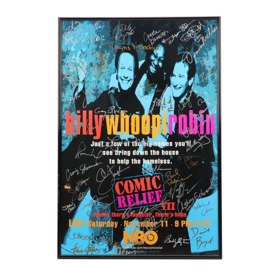 1995 Comic Relief VII Signed Framed Poster with Robin Williams, and More, COA