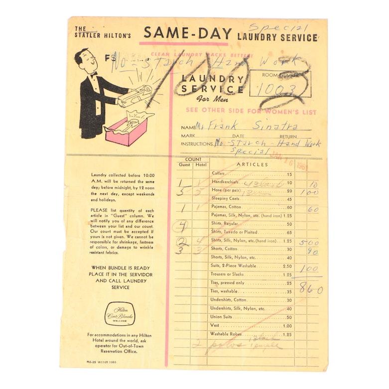 Frank Sinatra Laundry Service Ticket from The Statler Hilton, 1961