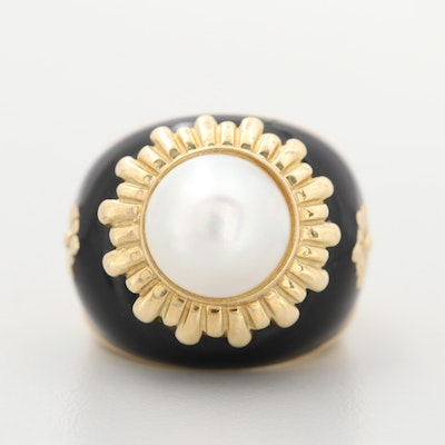 14K Yellow Gold Cultured Mabé Pearl and Enamel Ring