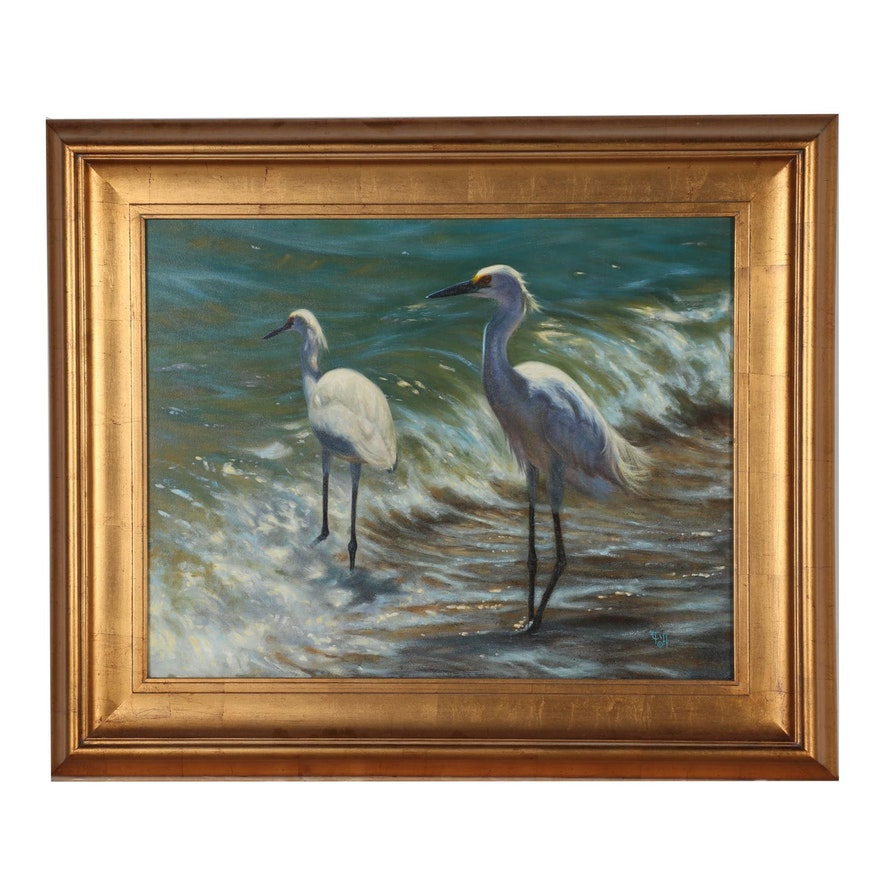 Tiffany Maser Oil Painting of Snowy Egrets