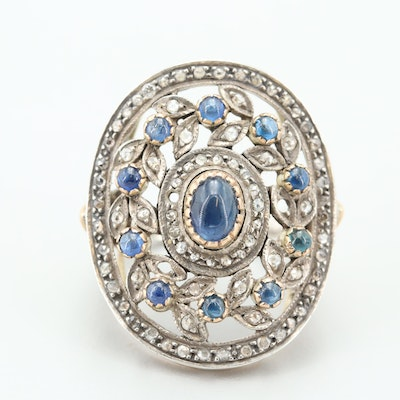 Sterling Silver and 14K Yellow Gold Blue Sapphire and Diamond Cocktail Ring