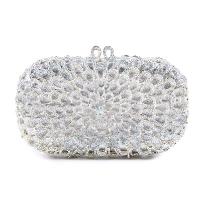 Petal Design Minaudière with Hand-Set Opalescent Crystals and Chain Strap