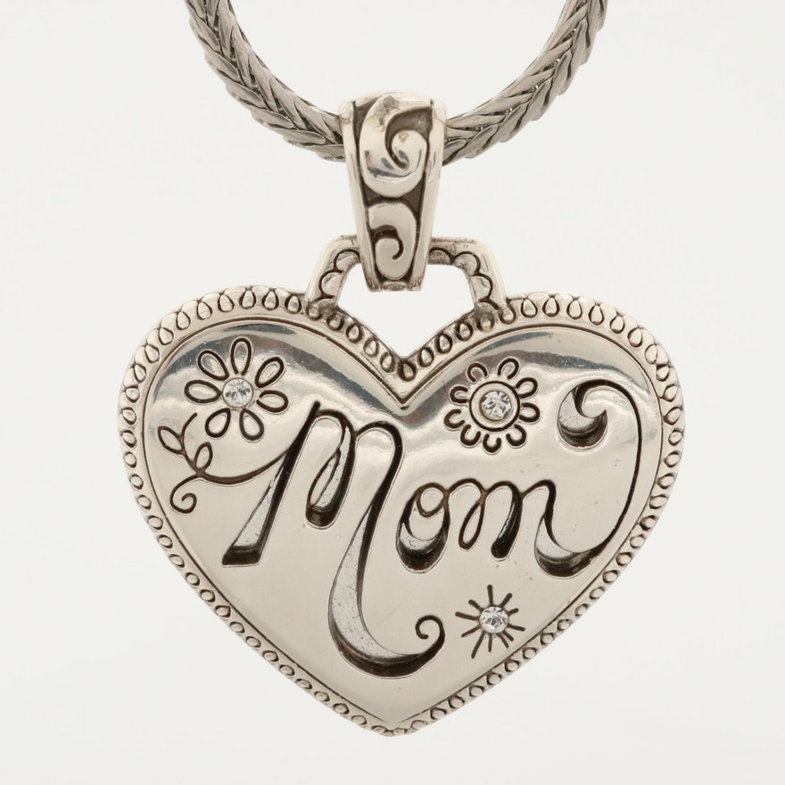"""Mom"" Heart Pendant with Rhinestones on Chain"