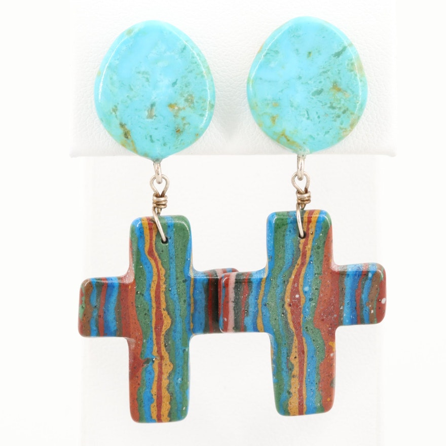 Southwestern Turquoise and Imitation Jasper Dangle Cross Earrings