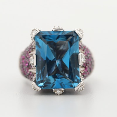Sonia B. 14K White Gold Blue Topaz, Diamond, and Ruby Ring