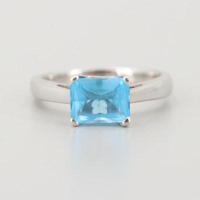 14K White Gold Blue Topaz Solitaire Ring