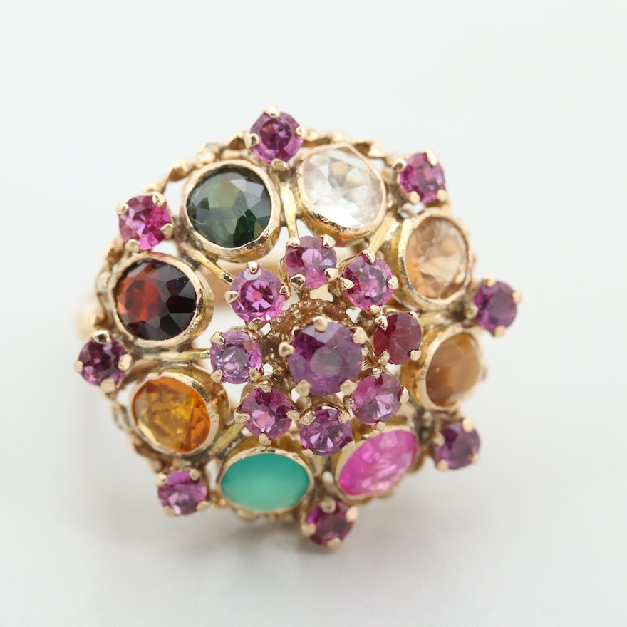 14K Yellow Gold Ruby and Multi-Colored Gemstone Dome Ring