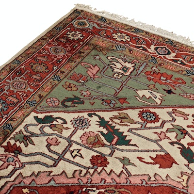 Hand-Knotted Indo-Persian Heriz Room Sized Wool and Cotton Rug