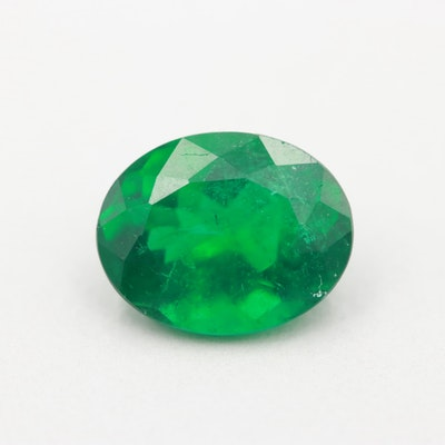 Loose Oval Faceted 1.63 CT Emerald with GIA Report