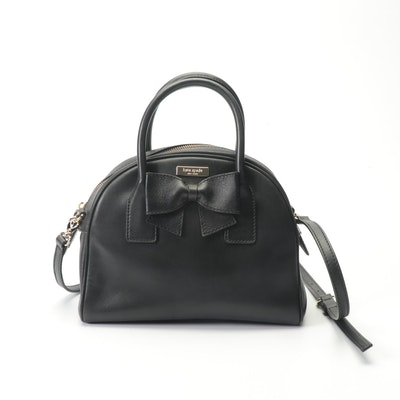 Kate Spade New York Black Leather Convertible Bag with Bow
