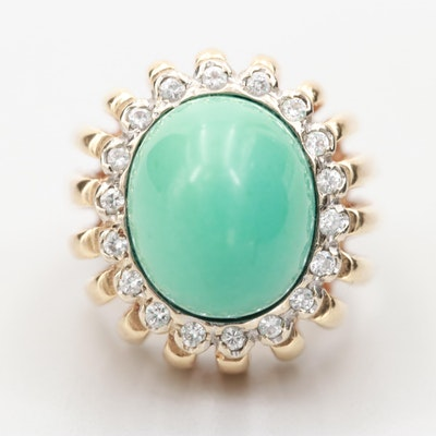 Circa 1960s 14K Yellow Gold Turquoise and Diamond Ring