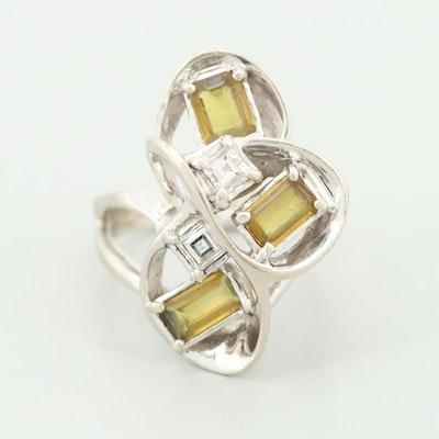 Vintage 14K White Gold Yellow Sapphire and Diamond Freeform Ring