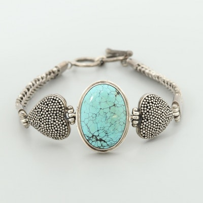 Sterling Silver Turquoise Bracelet with Heart Accents