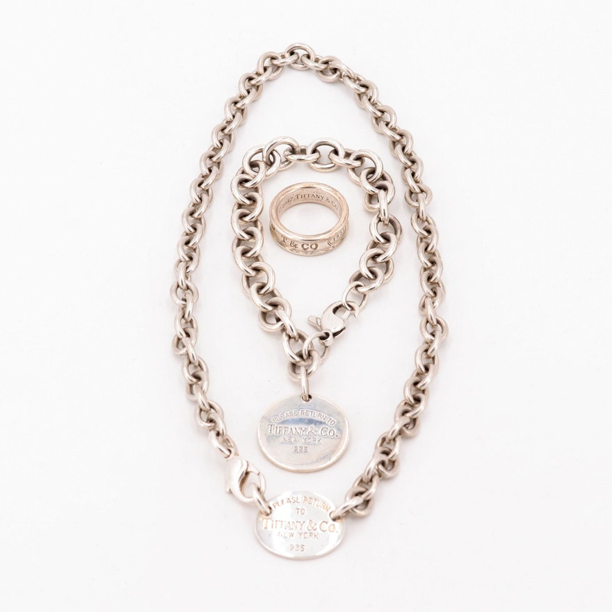 72c2ddc05e246 Tiffany and Co. Sterling Silver Necklace, Bracelet, and Ring