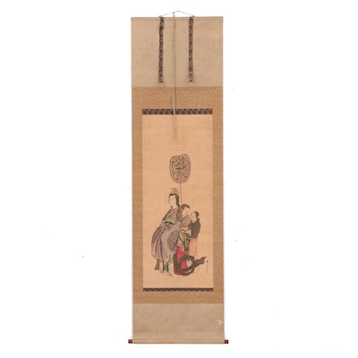 Chinese Hand Painted Hanging Scroll of Woman and her Attendants