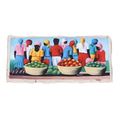 Haitian Folk Art Painting of Figures at Produce Market