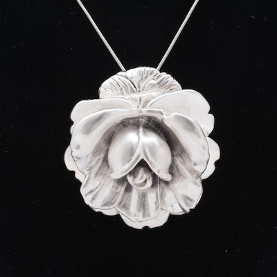 Sterling Silver Rose Brooch Pendant Necklace