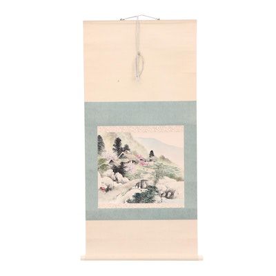 Chinese Gouache and Watercolor Hanging Scroll