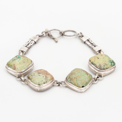 Southwestern Style Sterling Silver Turquoise Bracelet