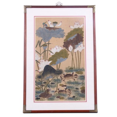 Chinese Watercolor Painting of Lotus Blossoms and Crabs