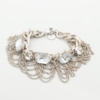 Silver Tone Foilback and Glass Curb Link Bracelet