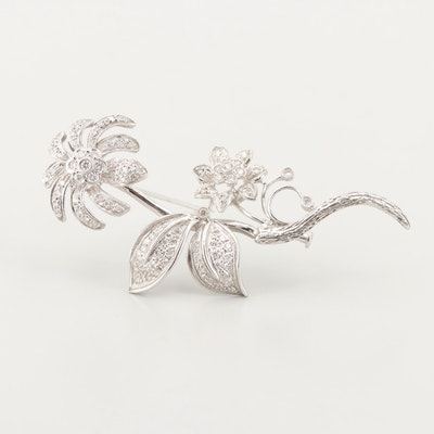 18K White Gold Diamond Flower Brooch