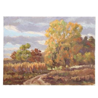 Judge Edward J. Hummer Oil Painting of Autumn Landscape