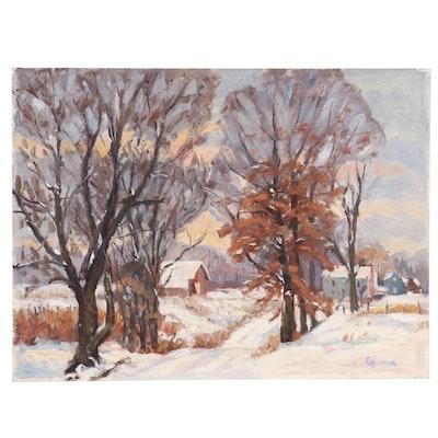 Judge Edward J. Hummer Oil Painting of Winter Landscape