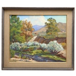 "Judge Edward J. Hummer Oil Painting ""Meandering Stream"""