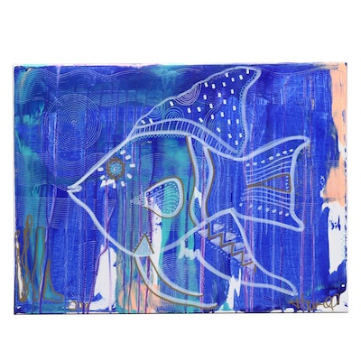 Jordan Howell Abstract Acrylic Painting of Stylized Fish