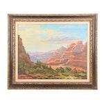 "Judge Edward J. Hummer Landscape Oil Painting ""Arizona Vista"""